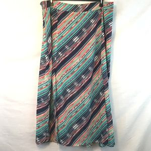  Maurices Striped Boho Flowy Layered Maxi Skirt